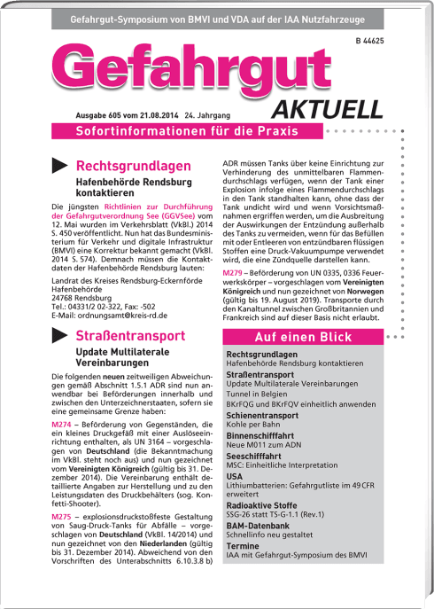 Gefahrgut AKTUELL - Newsletter Annual subscription
